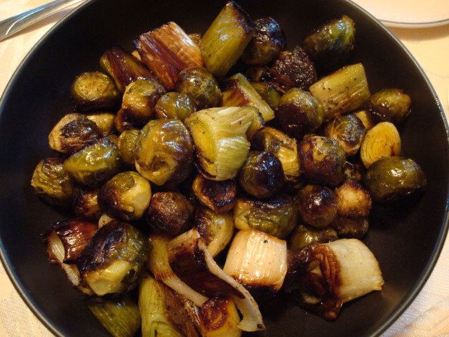 Roasted Brussels Sprouts and Leeks
