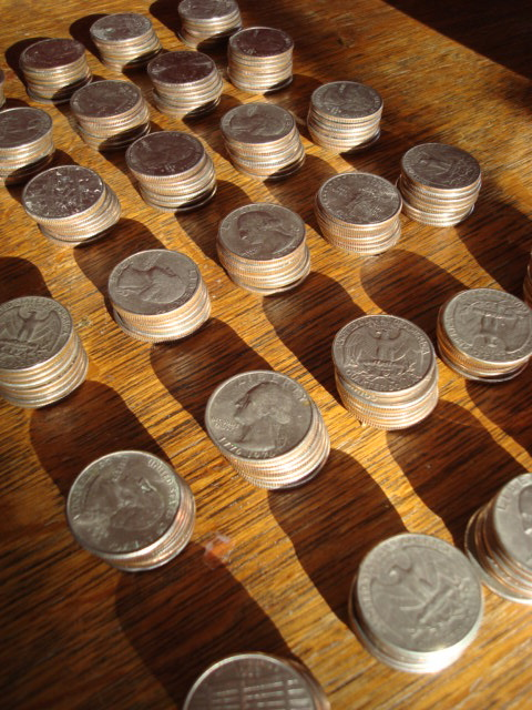 piles upon piles of quarters